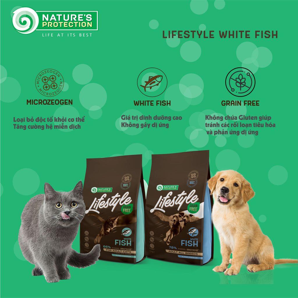 Thức ăn cho chó mèo không ngũ cốc bổ sung cá trắng và omega 3, Omega 6